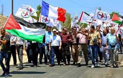 Le drapeau français à la manifestation de Bil'in après le 14 juillet à Nice