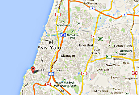 Carte google - Yaffo a remplacé Jaffa